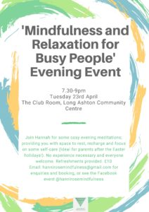 Mindfulness and Relaxation for Busy People- Evening Event @ Club Room